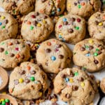 peanut butter cookies made with m&ms and chocolate
