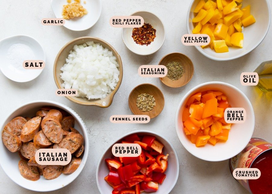ingredients needed to make sausage and pasta