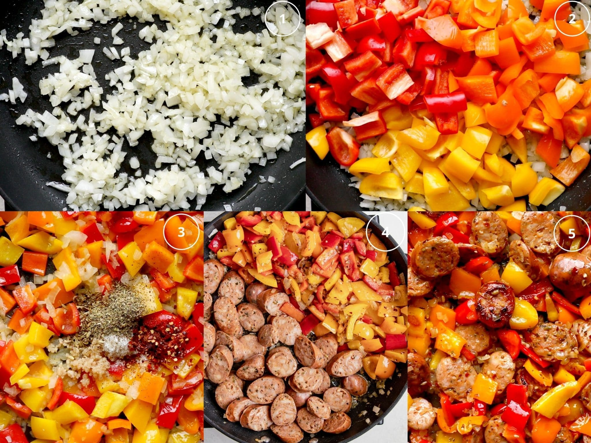 Step by step photos making sausage and peppers