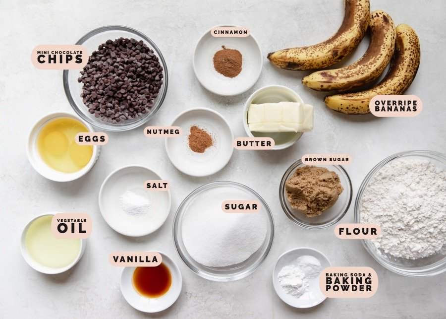 ingredients to make banana bars in small dishes