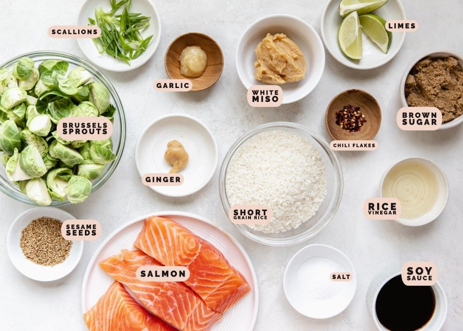 ingredients to make brown sugar salmon in small dishes
