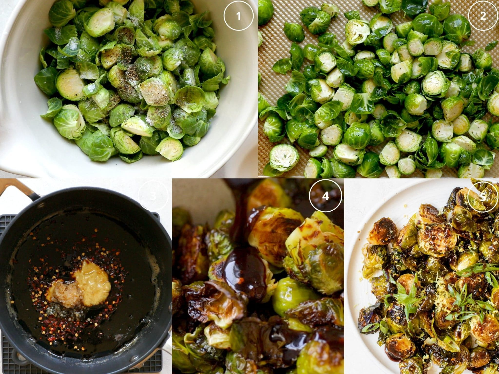 step by step photos making roasted brussels