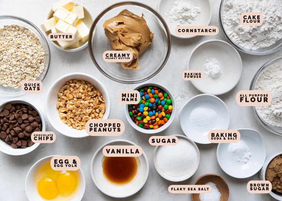 ingredients to make cookies in small glass bowls