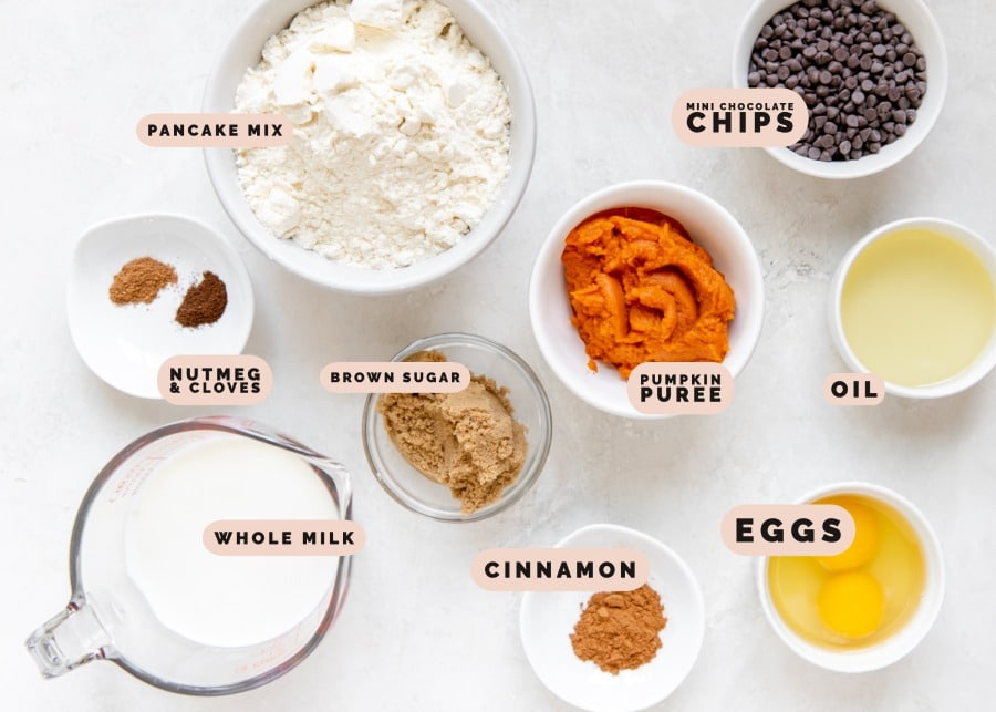 ingredients to make pumpkin pancakes in small glass dishes