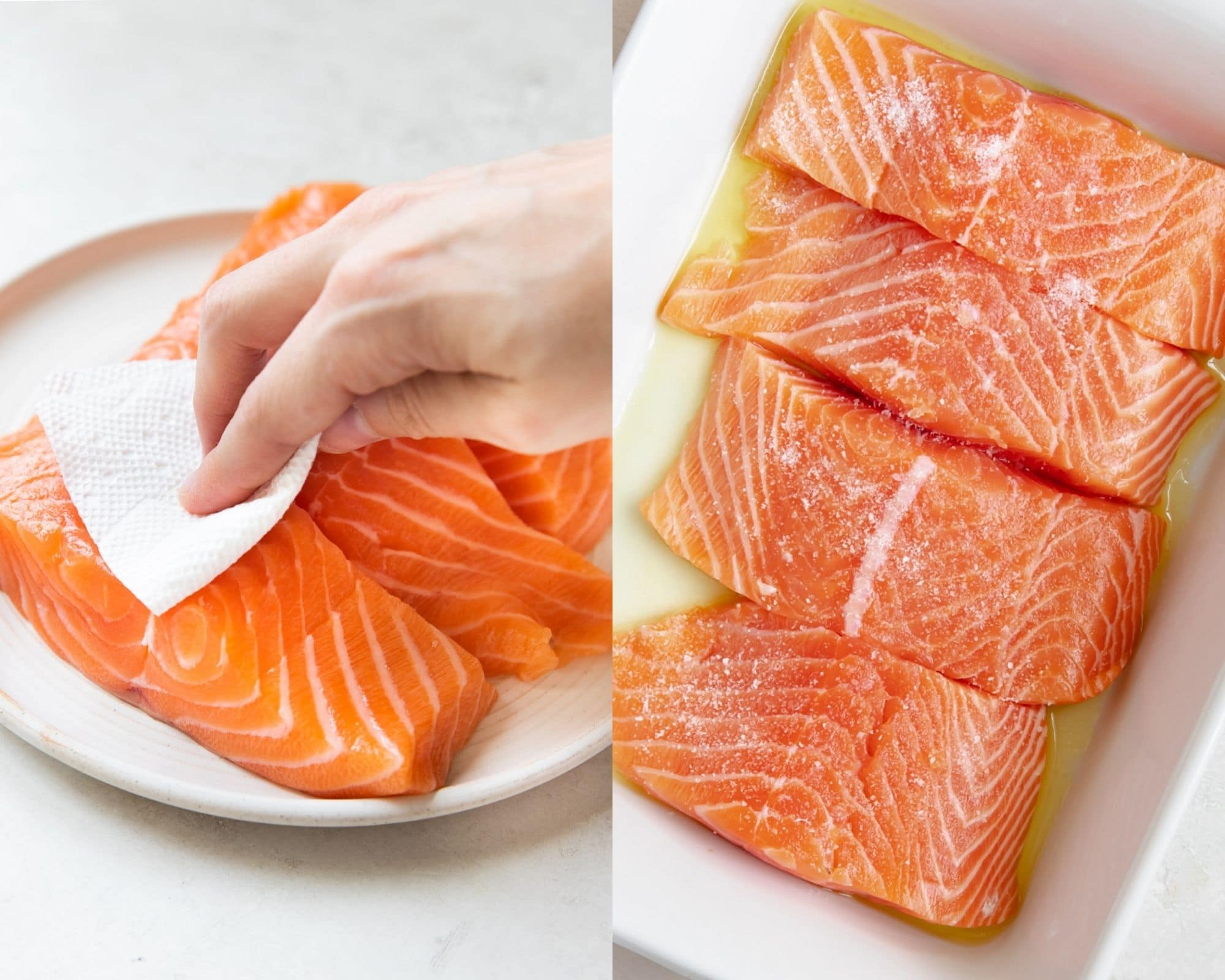 salmon on a white plate with a womans hand blotting salmon dry with a paper towel and salmon in a white baking dish with salt on top