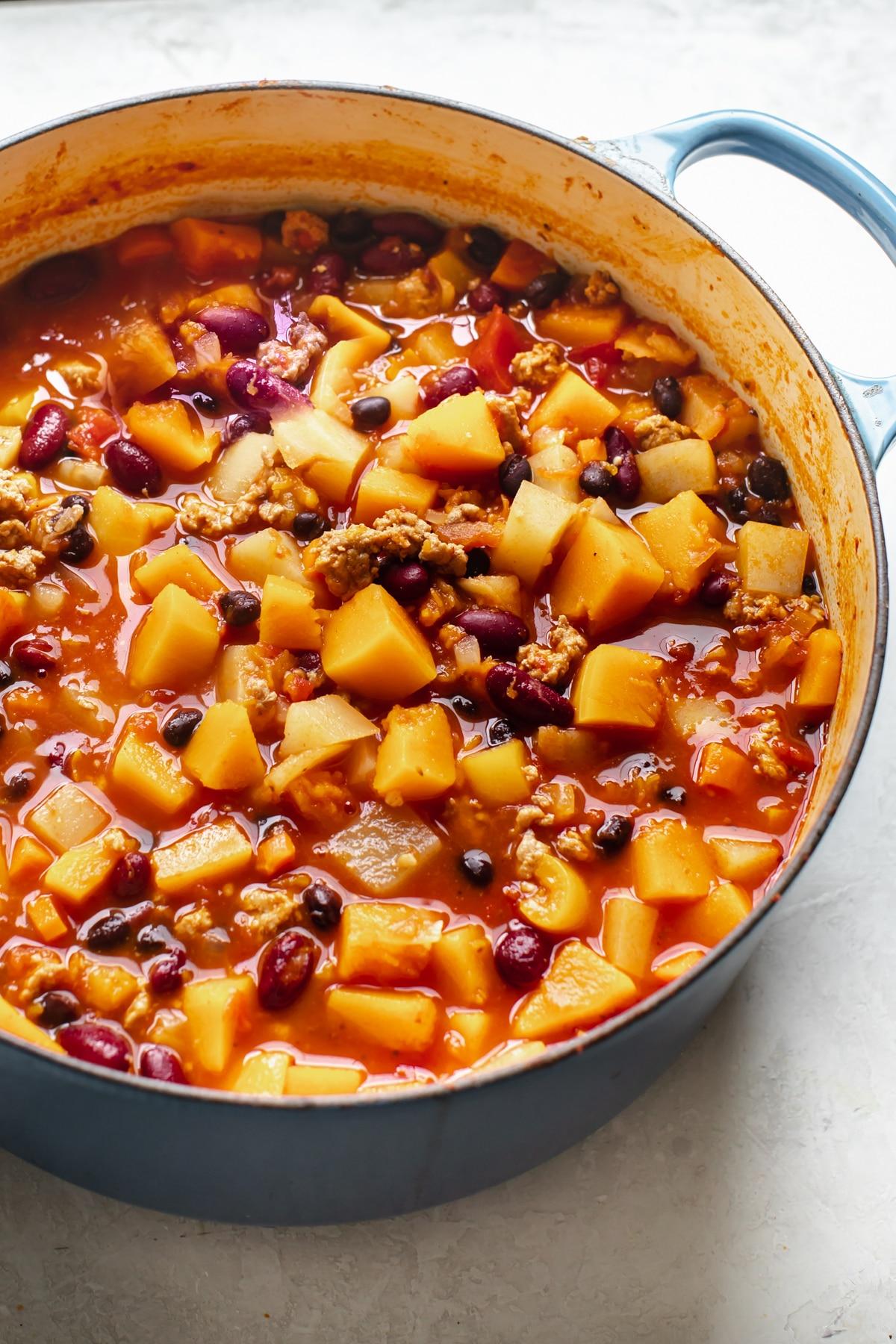 butternut squash chili in a big dutch oven pot