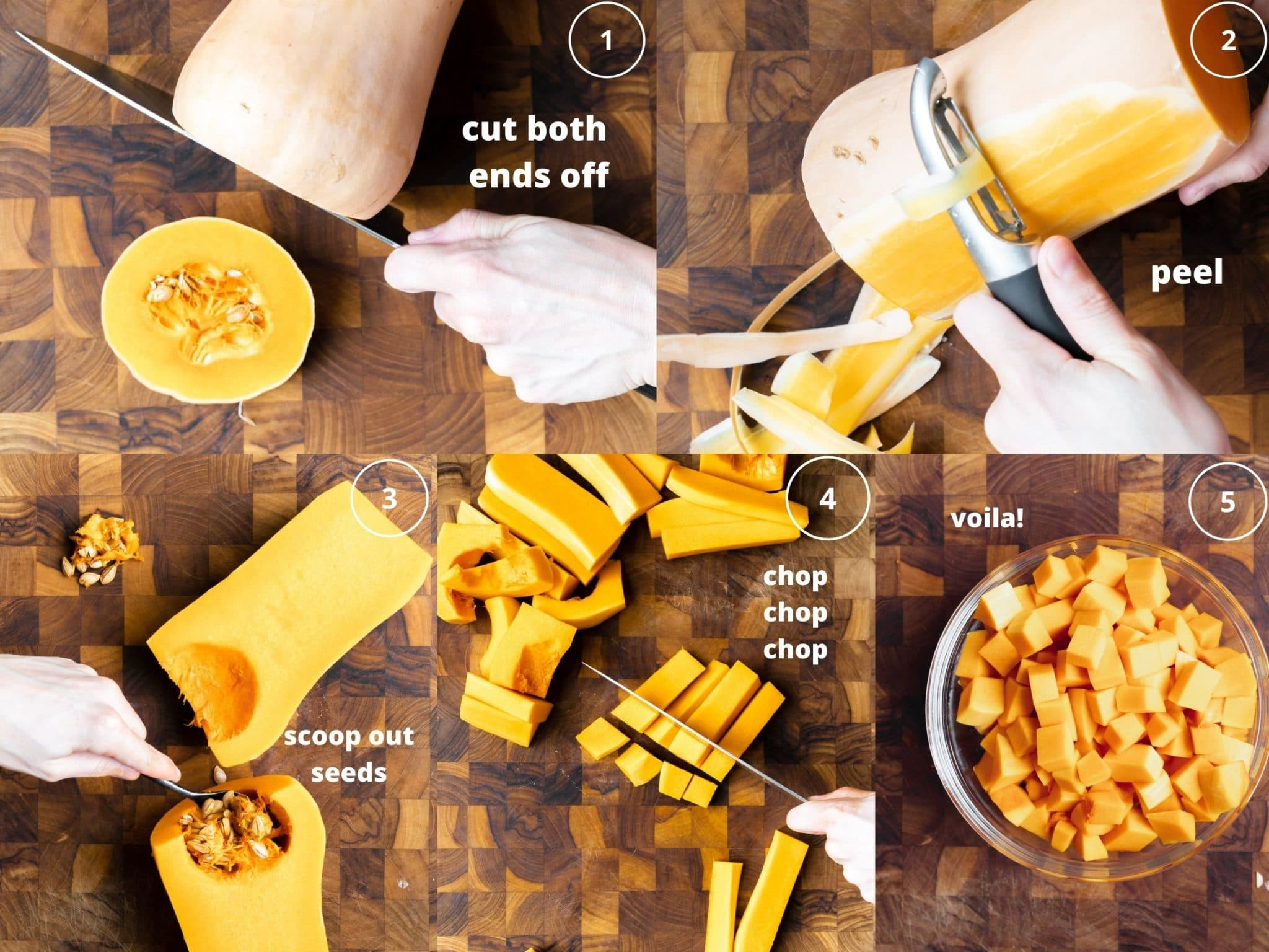 step by step photos of how to cut a butternut squash