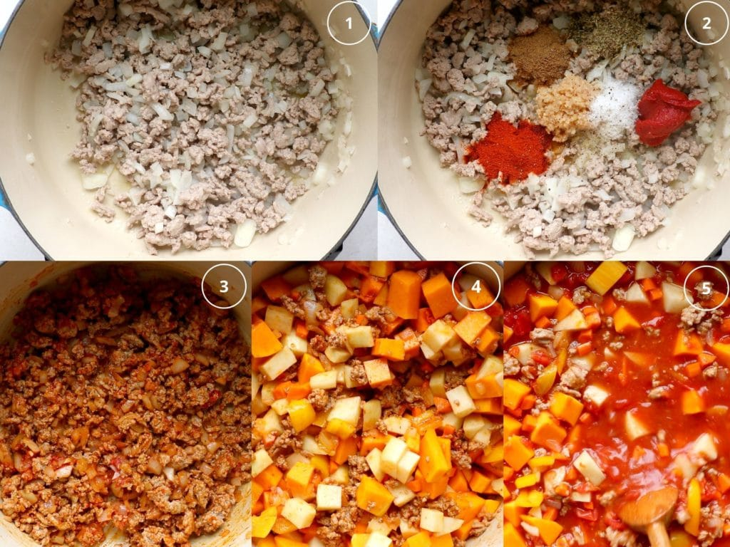 step by step photos of making chili in a dutch oven
