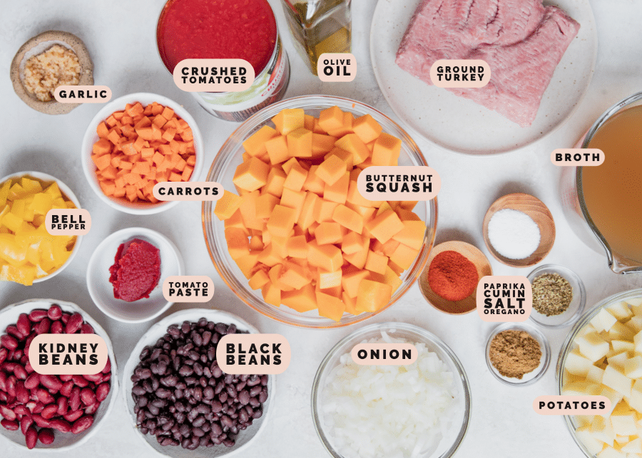 ingredients to make chili in small glass bowls