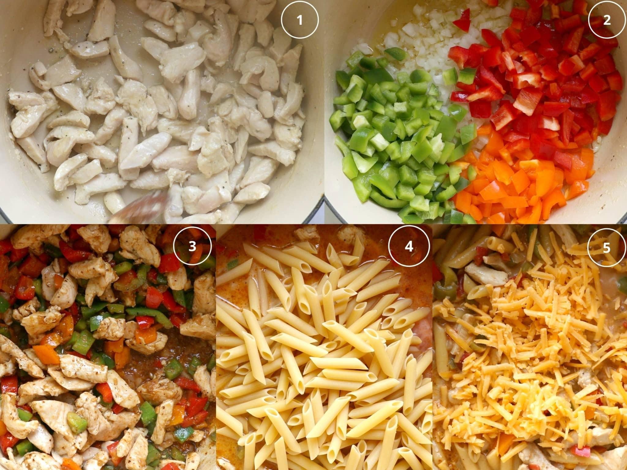 step by step photos making fajita pasta