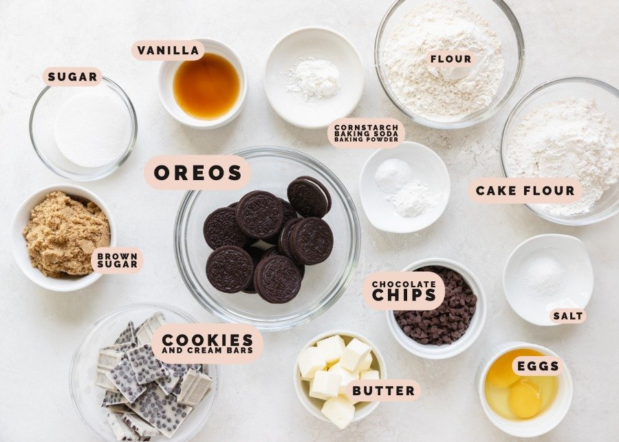 ingredients needed to make cookies and cream bars in small glass dishes